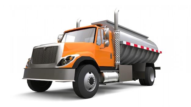 Grote oranje vrachtwagen tanker met een gepolijste metalen trailer. uitzicht van alle kanten Premium Foto
