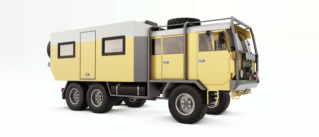 Grote vrachtwagen voorbereid op lange en moeilijke expedities in afgelegen gebieden. truck met huis op wielen. 3d-afbeelding. Premium Foto