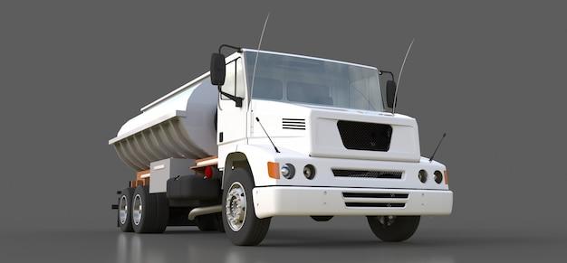 Grote witte tankwagen met gepolijste metalen aanhangwagen. uitzicht van alle kanten. 3d-weergave Premium Foto