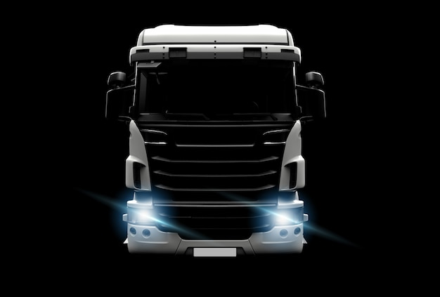 Grote witte vrachtwagen in darktion Premium Foto