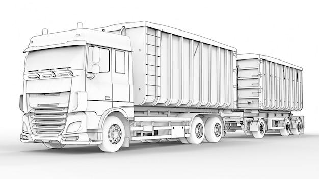 Grote witte vrachtwagen met aparte oplegger, voor het transport van agrarische en bouwmaterialen en -producten Premium Foto
