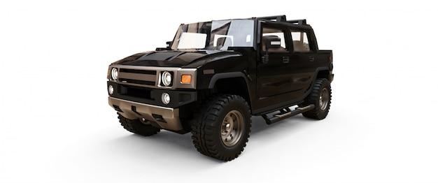 Grote zwarte off-road pick-up voor het platteland of expedities Premium Foto