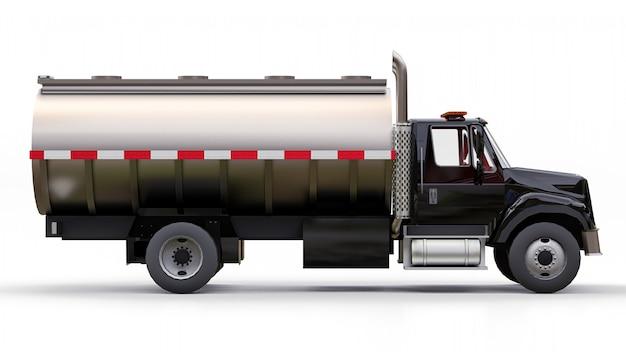 Grote zwarte tankwagen met gepolijste metalen trailer. uitzicht van alle kanten Premium Foto