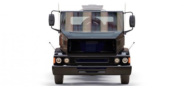 Grote zwarte tankwagen met gepolijste metalen trailer Premium Foto