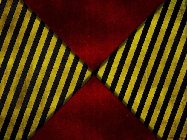 Grunge stijl rode metalen achtergrond met gele en zwarte waarschuwingsstrepen Gratis Foto