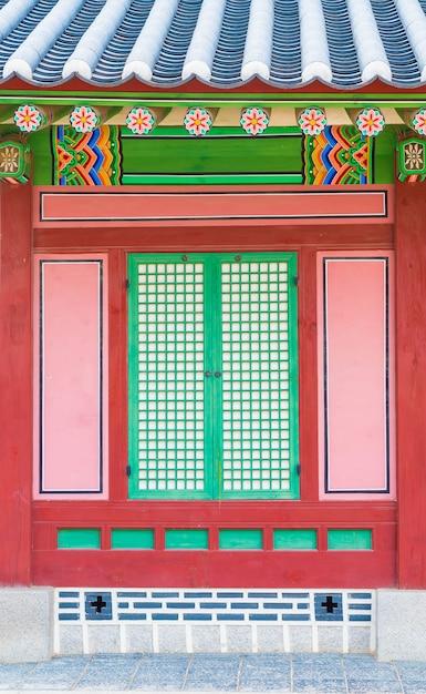 Gyeongbokgung palace prachtige traditionele architectuur in seoel, korea - boost up color processing Gratis Foto