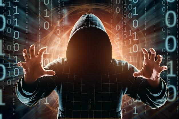 Hacker in de kap hacker aanval silhouet van de man mixed media Premium Foto