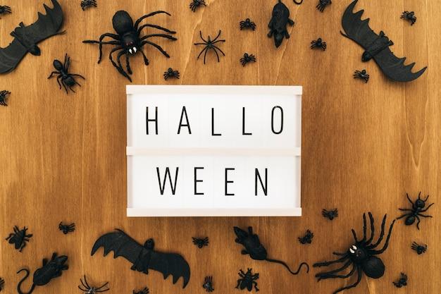 Hallo Halloween Decoraties : Halloween decoratie met bord en insecten foto gratis download
