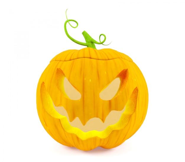 Halloween Pompoen Jack Olantern Op Witte Achtergrond Het 3d