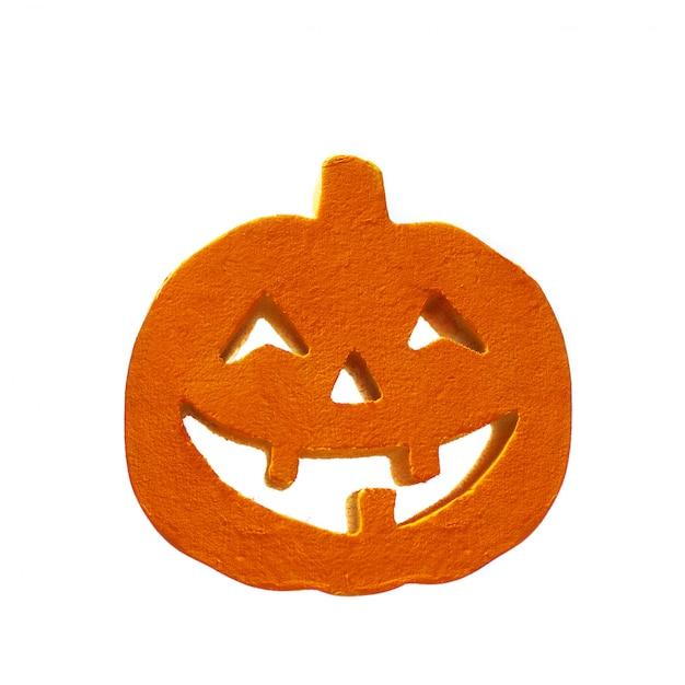 Halloween-pompoen ziet dicht omhoog op de witte achtergrond onder ogen Premium Foto
