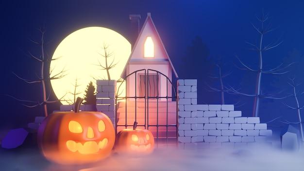 Halloween-thema met pompoenen en een huis 's nachts. Premium Foto