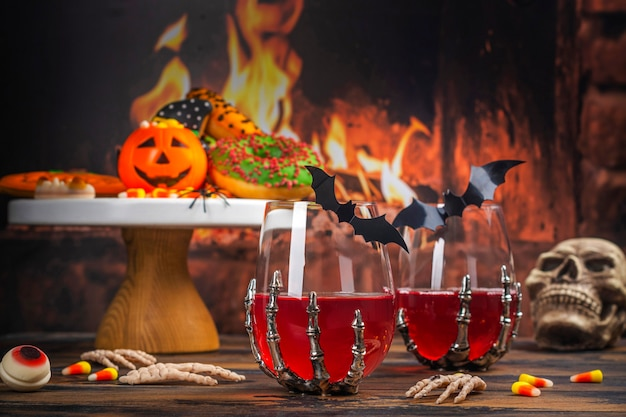 Halloween trick or treat feesttafel Premium Foto