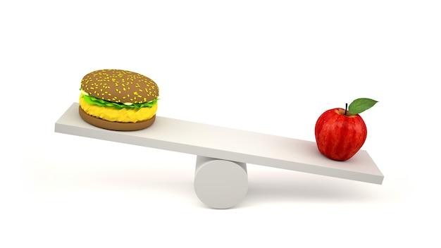 Hamburger en rode appel op schalen Premium Foto