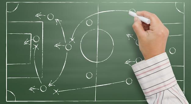 Hand die een strategie van het voetbalspel op een bord schrijft Premium Foto