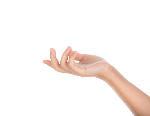 Hand die iets met witte achtergrond Gratis Foto