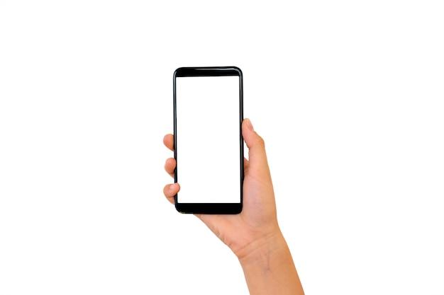 Hand die moderne smartphone met het lege scherm en modern ontwerp houdt Premium Foto