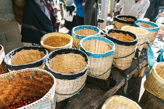 Hand geplukte rijpe rode en gele arabica-koffiebessen in de manden bij het akha-dorp van maejantai op de heuvel in chiang mai, thailand. Premium Foto