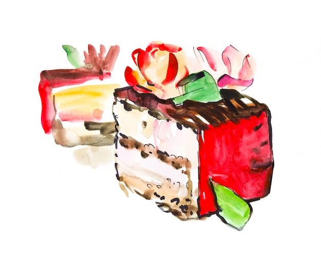 Hand getekend aquarel plakje romige taart met bloemen, geïsoleerde cake illustratie op wit Premium Foto