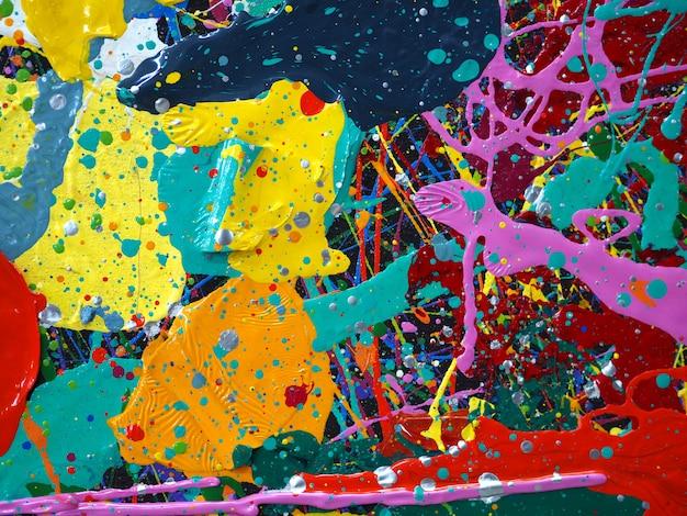 Hand getekend olieverfschilderij. olieverf op doek. multi kleurenachtergrond. Premium Foto