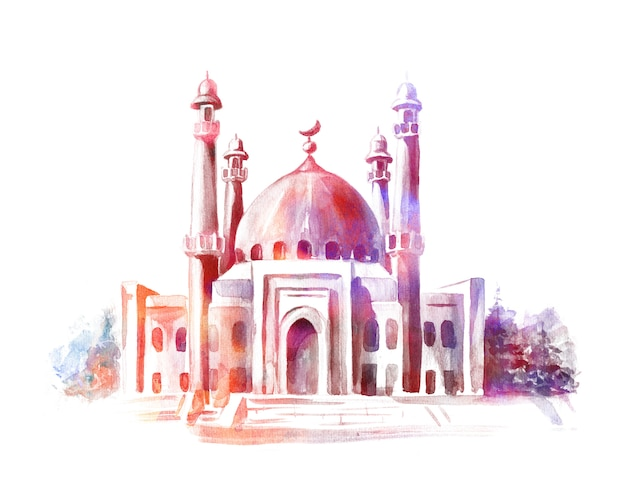 Hand getrokken aquarel schets van moskee. wenskaart of banner voor islamitische feestdag. Premium Foto