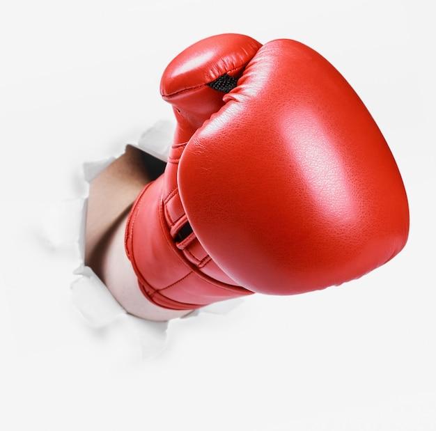 Hand in een rode bokshandschoen brak door de papieren muur Premium Foto