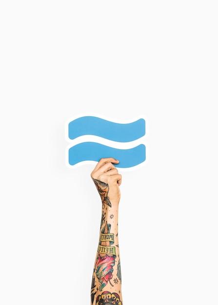 Hand met benaderings symbool Gratis Foto
