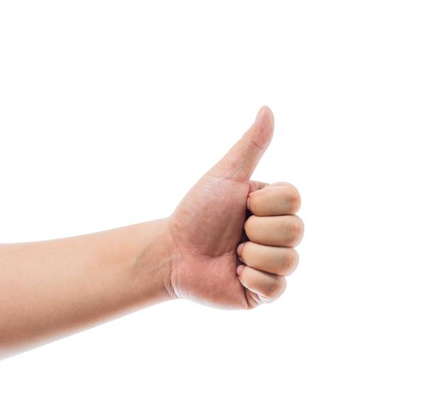Hand met duim omhoog geïsoleerd op witte achtergrond. ok teken Premium Foto