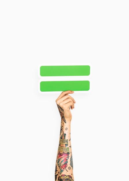 Hand met gelijke symbool Gratis Foto