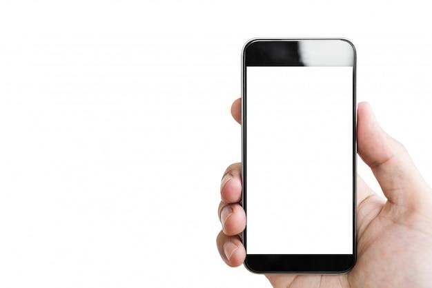 Hand met mobiele slimme telefoon Premium Foto
