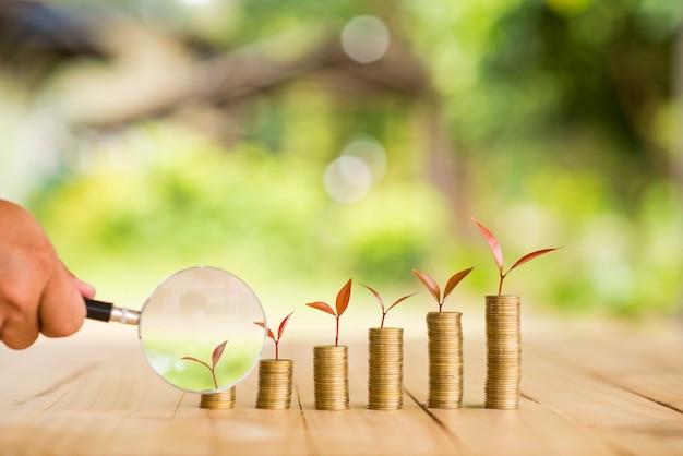 Hand met vergrootglas met geldgroeiende plant stap met deposito muntstuk. bank- en beleggingsconcept. Premium Foto