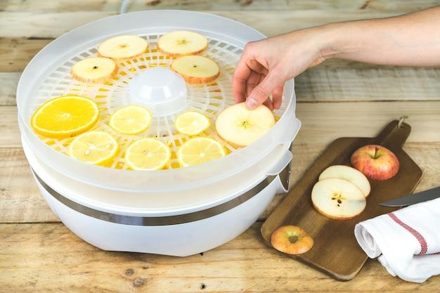 Hand plaatsen van fruitplakken in voedseldroger. Premium Foto