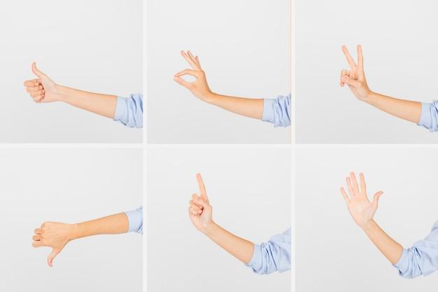 Handen bijsnijden met gebaren Gratis Foto