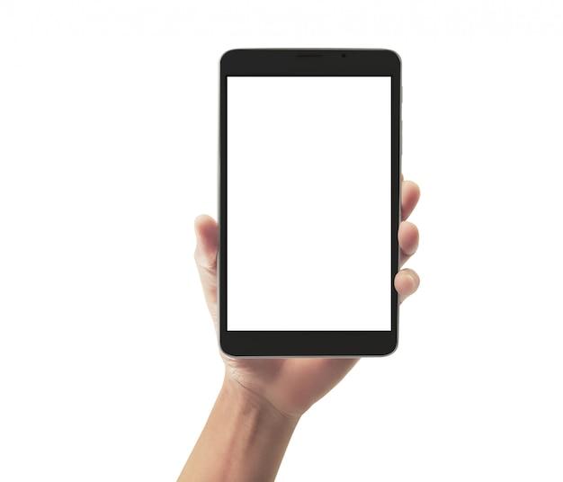 Handen die de computergadget van de tabletaanraking met het geïsoleerde scherm houden Premium Foto