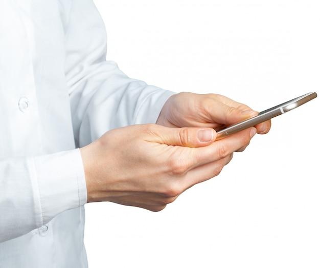 Handen met mobiel Premium Foto