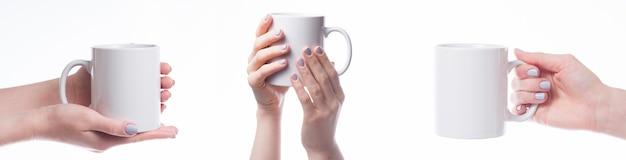 Handen met mok Gratis Foto