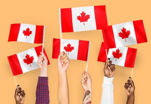 Handen met vlaggen van canada zwaaien Gratis Foto