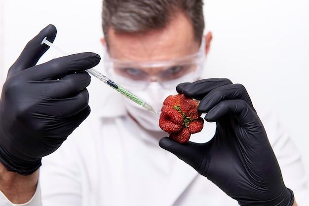 Handen van de wetenschapper in zwarte handschoenen met een spuit met injectie en aardbeien van ongebruikelijke vorm. Premium Foto