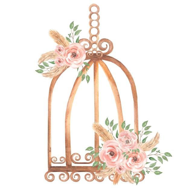 Handgeschilderde aquarel roestige vintage vogelkooi met vuile roze rozen bloemen boeket en groene bladeren tak. provence stijl illustratie. Premium Foto