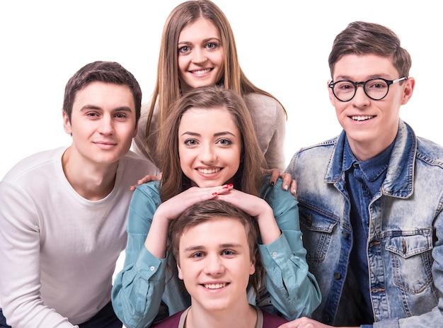 Happy lachende jonge groep Premium Foto