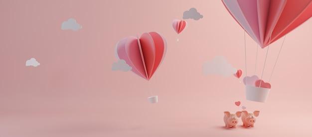 Happy valentines day en wieden ontwerpelement. roze achtergrond. 3d-rendering Premium Foto