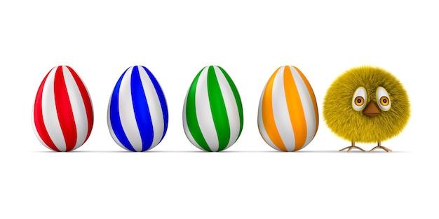 Harige kip en eieren op witte ruimte. geïsoleerde 3d-afbeelding Premium Foto