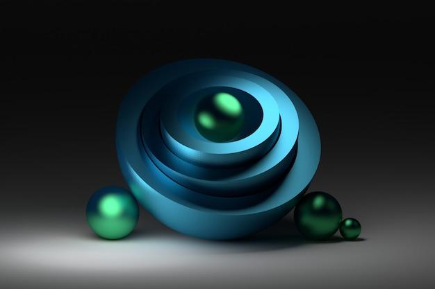Harmonische compositie met halve bollen en glanzende blauwe ballen Premium Foto