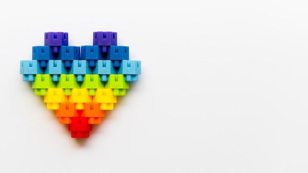 Hartvorm gemaakt van legoblokken met kopie-ruimte Gratis Foto