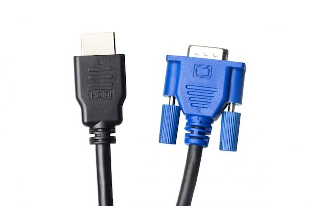 Hdmi- en vga-kabels geïsoleerd. kies tussen moderne hdmi- en oude vga-verbindingen Premium Foto