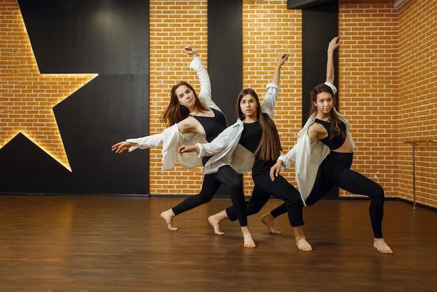 Hedendaagse dansartiesten poseren in de studio. dansers trainen in de klas, modern ballet, elegantie dansen, rekoefeningen Premium Foto