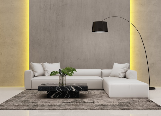 Hedendaagse moderne woonkamer met wandsysteem Premium Foto