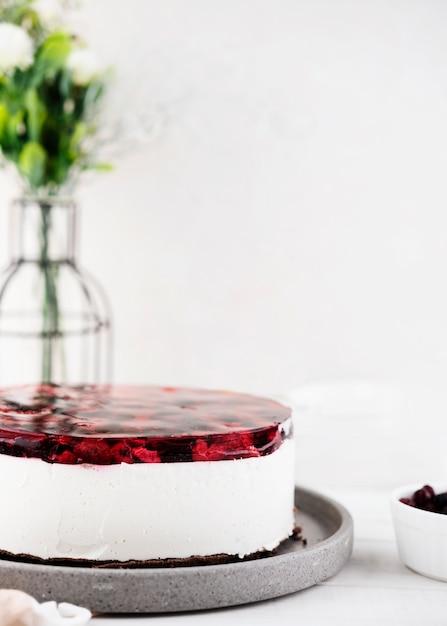Heerlijke jelly cake met bloemen Gratis Foto
