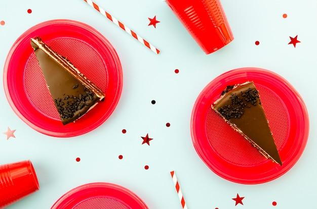 Heerlijke plakjes chocoladetaart Gratis Foto