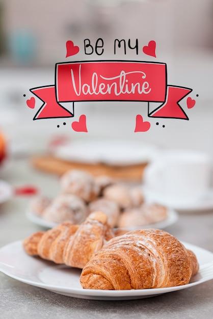 Heerlijke snack bereid voor valentijnsdag Gratis Foto