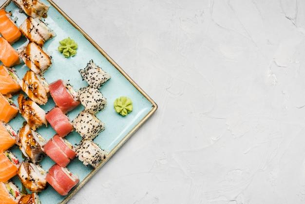 Heerlijke sushi verscheidenheid kopie ruimte Gratis Foto